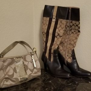 COACH  swede & leather boots & bag set 8B